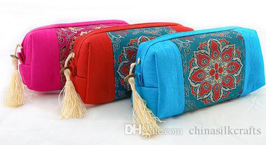 Patchwork Craft Tassel Woman Clutch Bags For Makeup Bag Travel Zipper Cosmetic Pouch Chinese Silk Brocade Fabric Storage Case Gift Bag