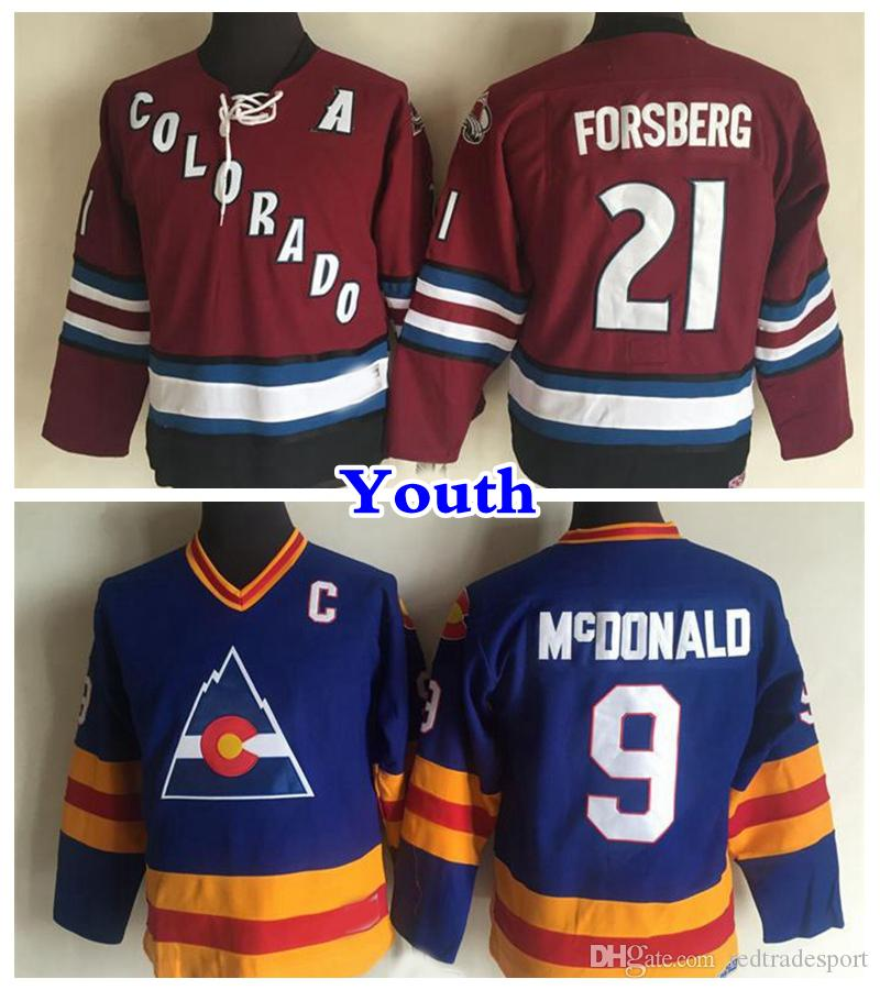 best service 8ae32 4179f Youth Vintage Colorado Avalanche 9 Lanny McDonald 21 Peter Forsberg Hockey  Jerseys Kids Retro Vintage CCM Stitched Jersey