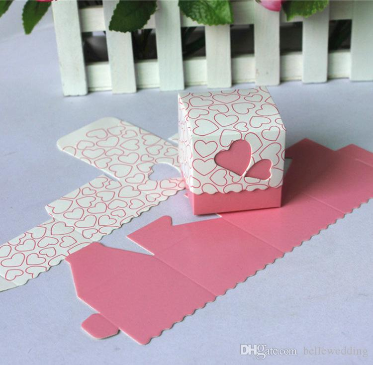 Wedding Favor Holders Candy Bags Paper Four Colors Heart Cubic Design Wedding Favor Boxes BW-FH0002