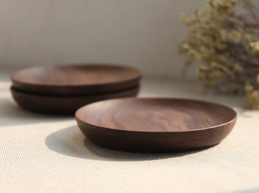 15cm / 5.9inch Eco Plate Dish DIY Craft Wood Sushi Platter Dish Dessert Biscuits Plate Dish Tea Server Tray Wooden Cup Holder Pad