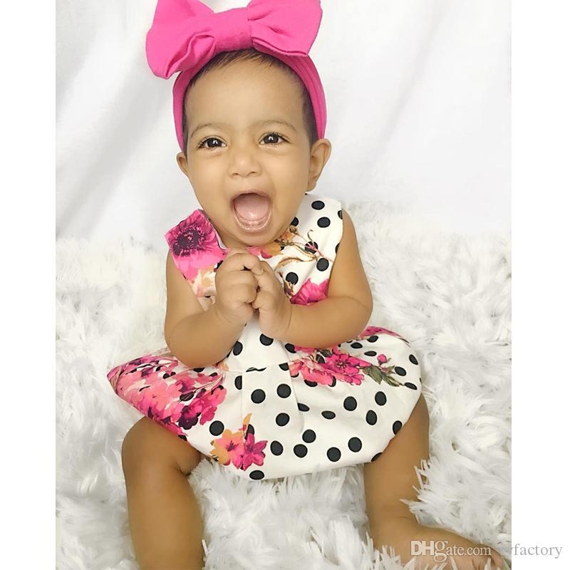 Lovely Baby Girl Dress Kid Verão Floral Princesa Festa de Aniversário Vestidos De Casamento Dot Estilo Vintage Kid Adorável One-piece Vestido 1-6 T Roupas