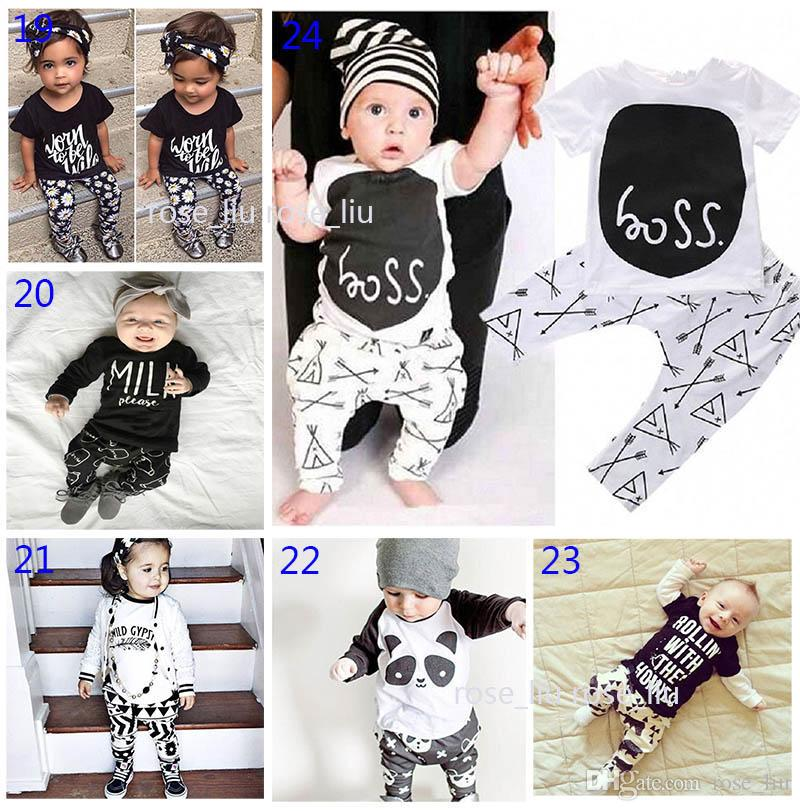 30 Estilo Bebê INS fox tarja letra pijama Ternos Crianças Criança Infantil Casual Curto manga comprida T-shirt + calças conjuntos Terno B