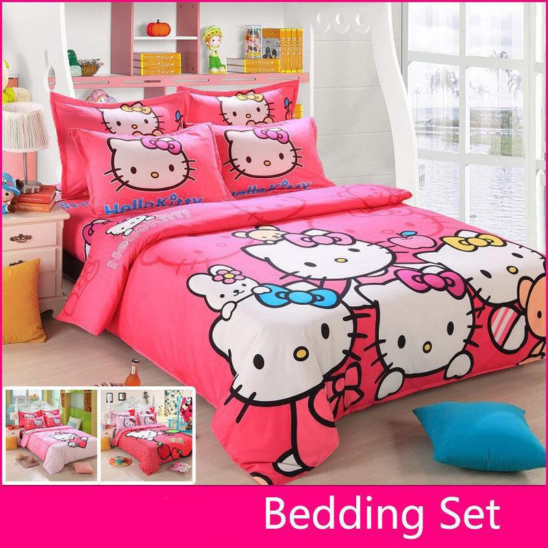 Wholesale Brand Logo Hello Kitty Bedding Set Children