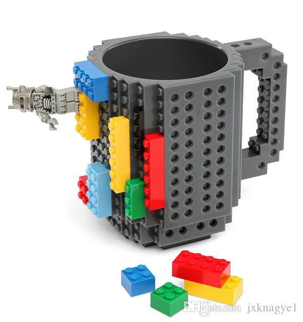 Build-On Brick Mug Building Blocks Mugs DIY Block Puzzle Mug Build-On Brick creative Mug Coffee Cup 350ML Creative decompression cups