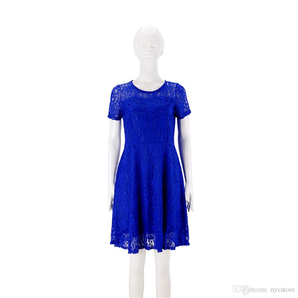 Artı Boyutu S-5XL Kadınlar Yuvarlak Boyun Kısa Kollu Pileli Dantel İnce Seksi Elbise Bayanlar Moda Elbiseler Düğün Parti Giyim Giymek