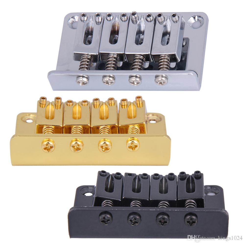 Chrome 4 String Vintage Bass Bridge for Electric Bass Guitar Ukulele Black /Silver /Golden Guitar Parts and Accessories