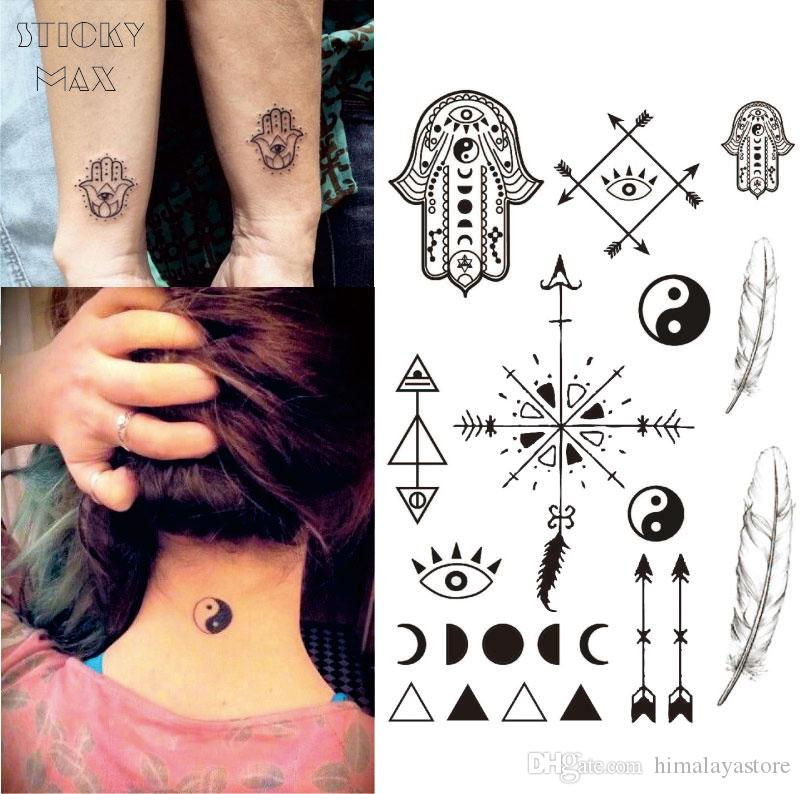 w13 hamsa hand temporary tattoo with ying yang moon phase feather