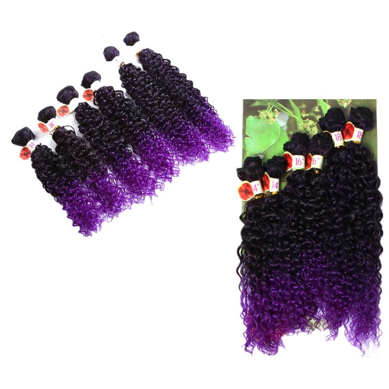 Synthetic Hair Weaving Ombre Black Bug Purple Color Weft Hair Curly Synthetic Hair Extensions for full head 14 16 18inch