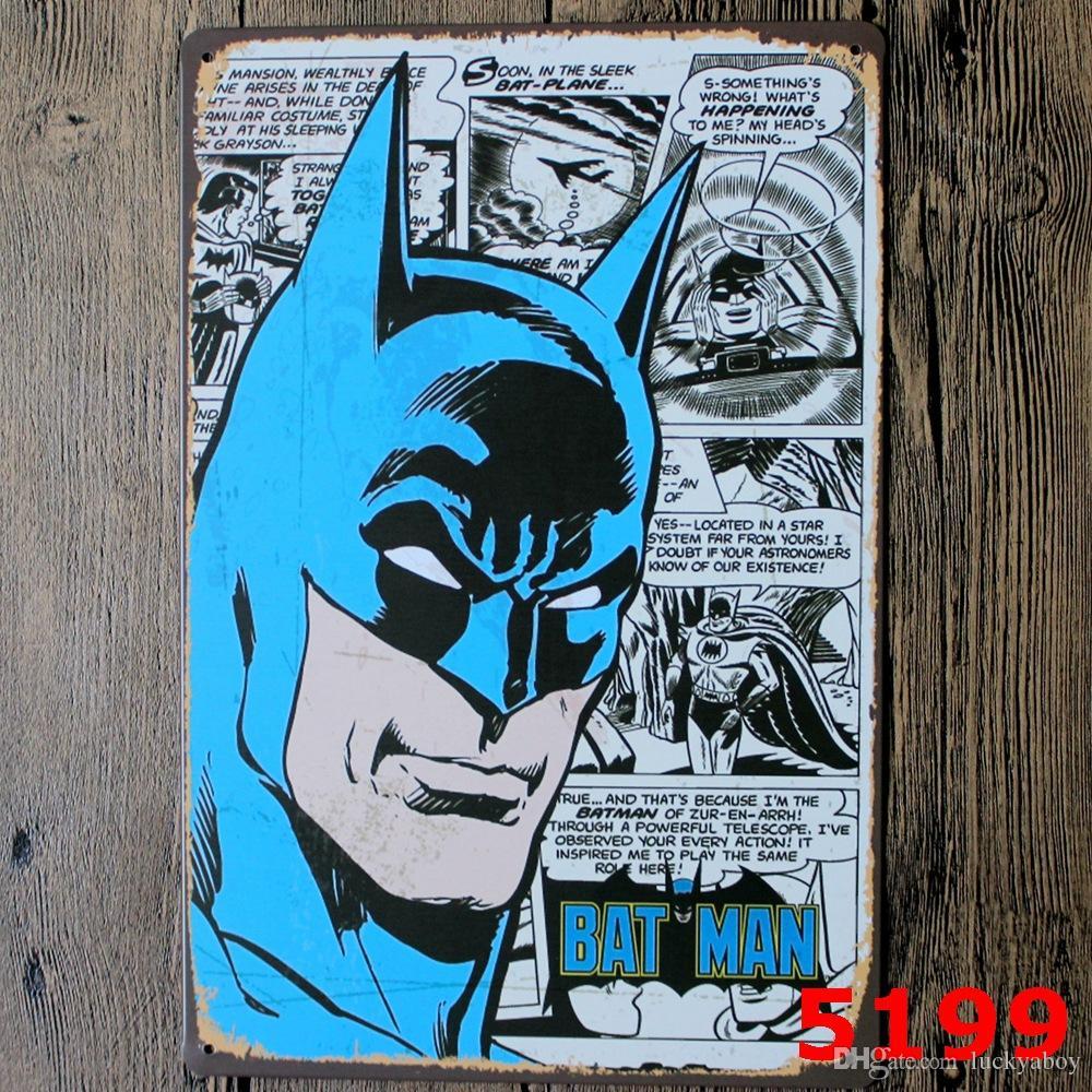Nouveau SuperHero Batman Chic Accueil Bar Vintage Signes En Métal Décor À La Maison Vintage Enseignes De Tin Pub Vintage Plaques Décoratives Mur En Métal dessins Mixtes