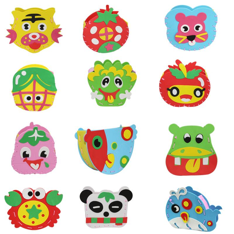 Wholesale- 21Design DIY Cartoon animal vegetables pot Children hand toys EVA foam puzzles DIY crafts for kids learning and educational toys