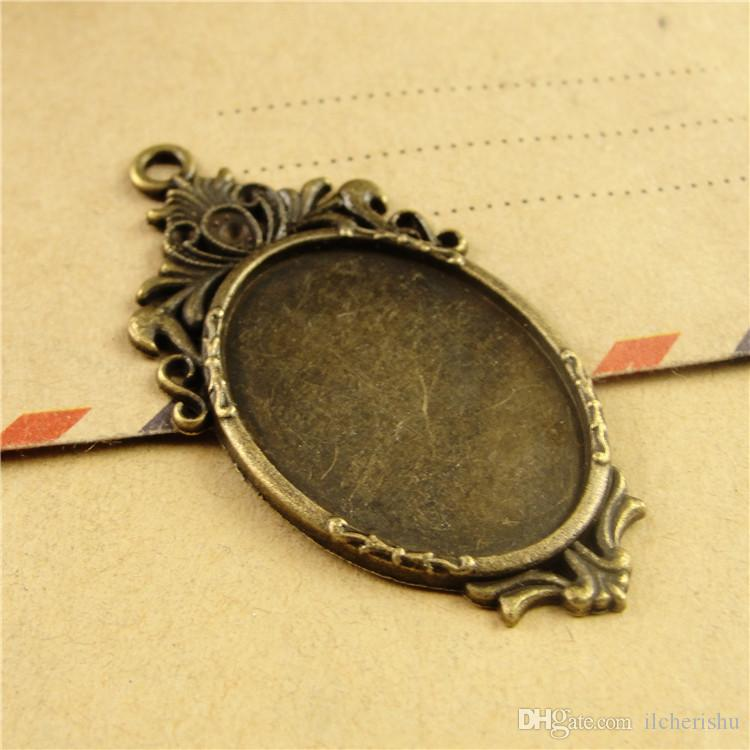 45*23MM Fit 25*18MM oval metal stamping blank tray, vintage antique bronze pendant base, tibetan silver plated bezel cameo cabochon setting