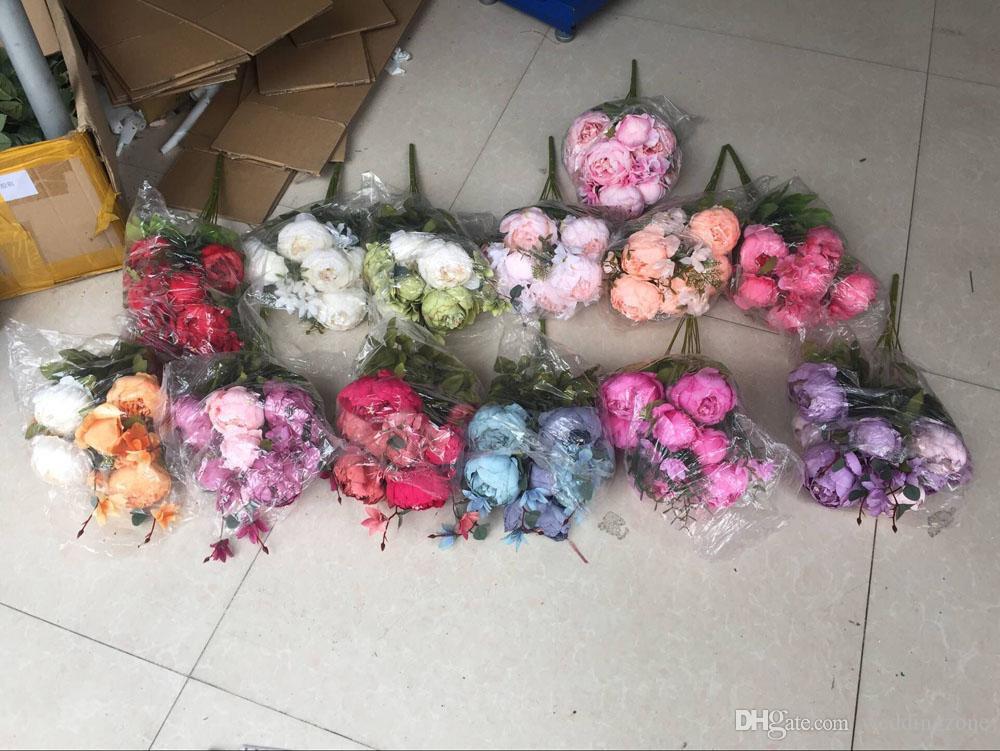 6 teste + 2 gemme + 3 piante acquatiche Peonia artificiale fiore di seta Decorazioni di nozze Paeonia suffruticosa Decorazione fiori