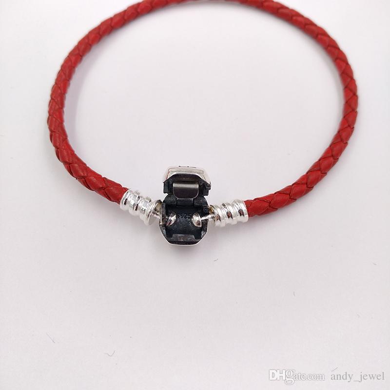 Autentico 925 momenti in argento sterling 925 braccialetto singolo in pelle intrecciata - rosso adatto a Pandora Stili europei gioielli charms perline 590705CRD-S3