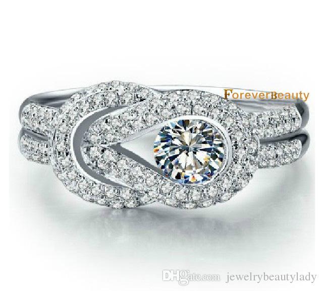 Trend ForeverBeauty 0.45CT Rondes Taille Ceinture Design Star Style Anneaux De Diamants Synthétiques Pour Bague de Fiançailles