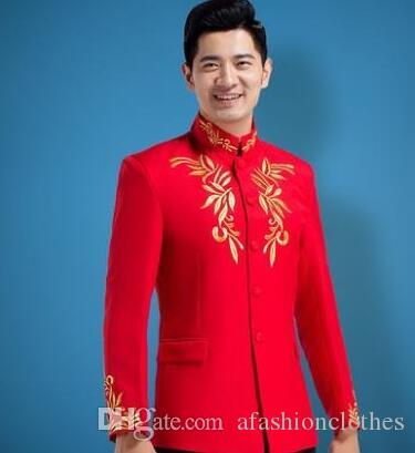 276d1c803 Túnica china blazer hombres vestido formal último abrigo pantalón traje  rojo hombres soporte cuello bordado matrimonio trajes de boda para hombres