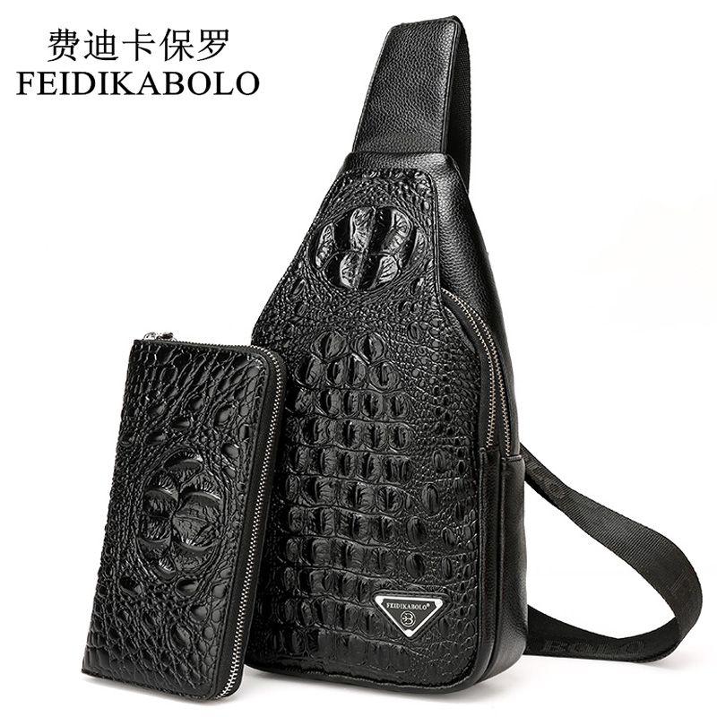 FEIDIKABOLO 3D Crocodile Men Chest Pack Leather Travel Men S Crossbody Bags  Male Shoulder Bag Back Bag Rucksack Men Clutch Purse Satchel Bags Cheap  Purses ... 7c3ae45985f24