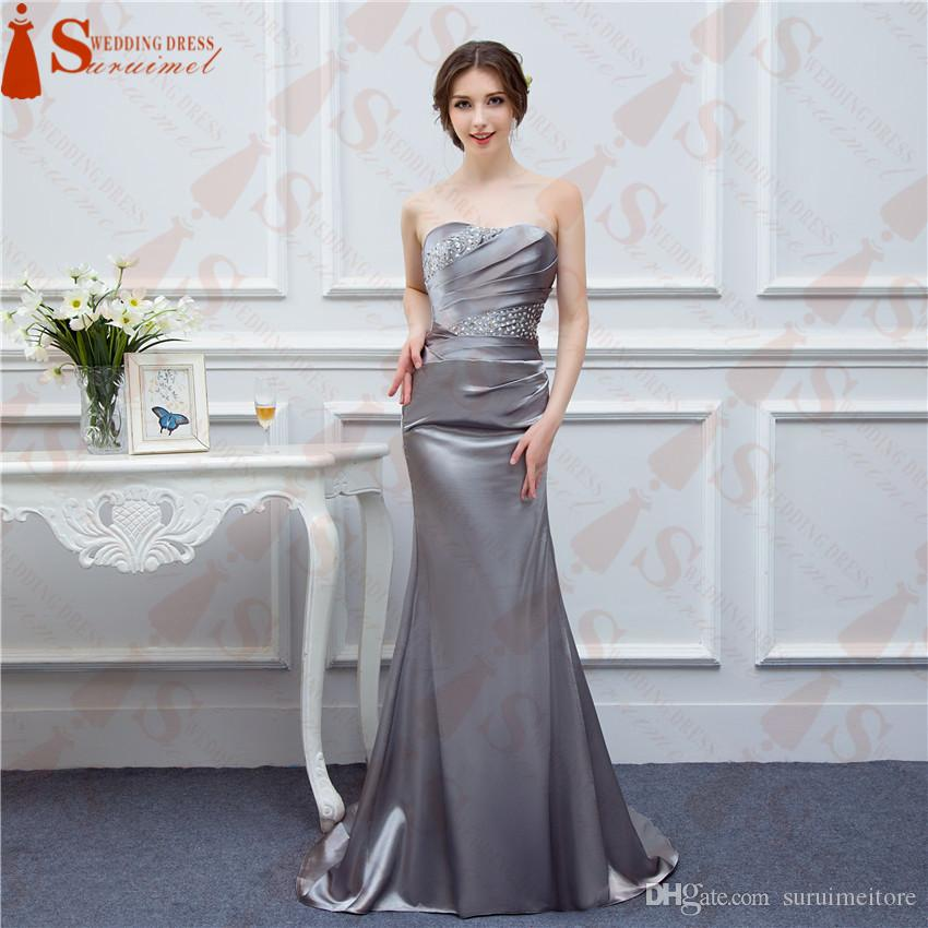 2018 Sexy Hot Sale Elegant Strapless Prom Dresses Mermaid Satin Off ...