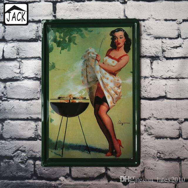Cooking Lady 20X30cm Vintage Metal Tin Signs Pub Gallery Lounge Home Decor Craft Mural Poster Retro Plaques