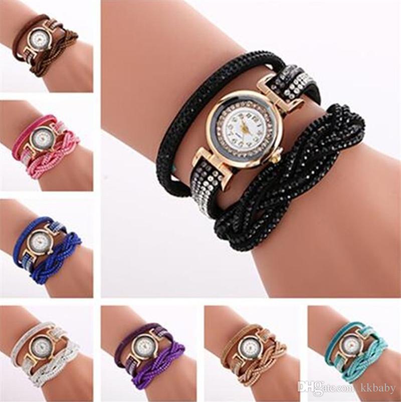 6b7e4f87f619 Compre Lujo Mujeres Abrigo Pulsera Relojes Diamante Lujo Dial Rhinestone  Cuero Reloj De Cristal Vestido De Ocio Relojes De Pulsera De Cuarzo Para  Las ...