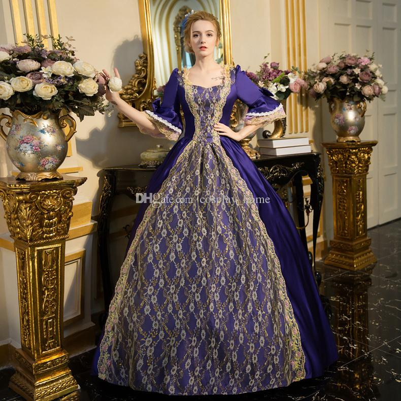 Can be Custom 2017 Retro half Sleeve Gray Marie Antoinette ball gowns Party Dress For ladies