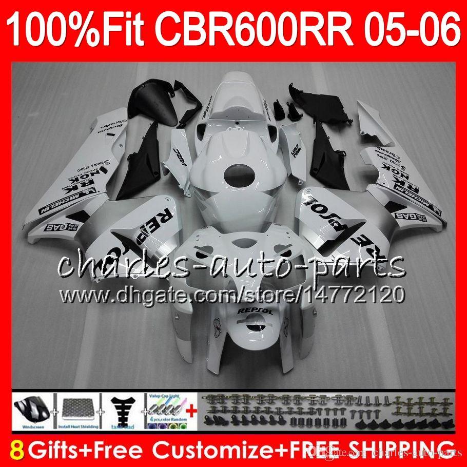 8Gifts Injection For HONDA CBR 600 RR CBR600RR 05 06 44HM11 CBR 600RR F5 03 04 Repsol White CBR600F5 CBR600 RR 2005 2006 Fairing