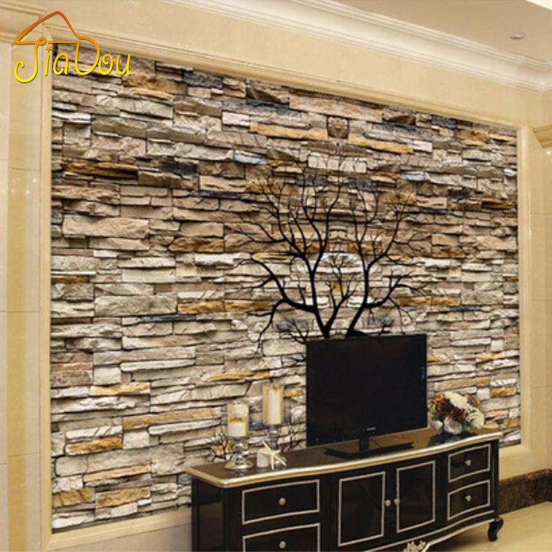 Wholesale custom photo wallpaper 3d stone wall trunk for 3d stone wallpaper for living room
