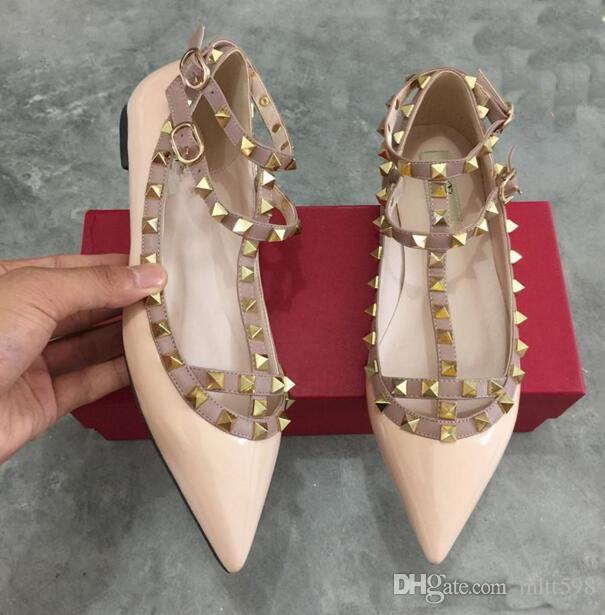 free shipping good selling 2017 Two flat rivet belt Women Pumps Wedding Valentine's Shoes Woman Nude Fashion Ankle Straps Rivets Shoes Sexy falt shoes sale for sale qYC0U3KpW