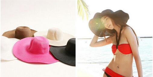 Fun Orange Summer Women's Foldable Wide Large Brim Beach Sun Hat Straw Beach Cap For Ladies Elegant Hats Girls Vacation Tour Hat q170638