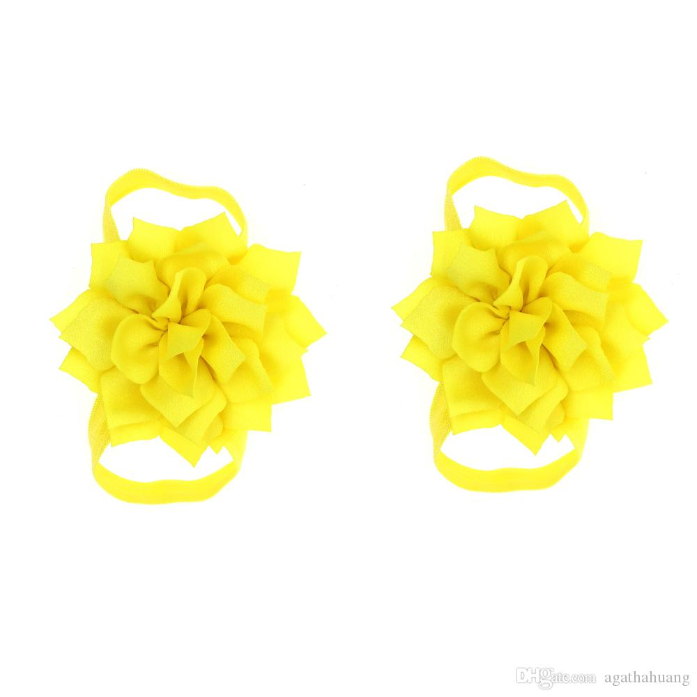 New Hot Cute Lotus Flower Baby Barefoot Sandals First Walkers Flower Foot Toddler Flower Shoes Baby Girls Accessories