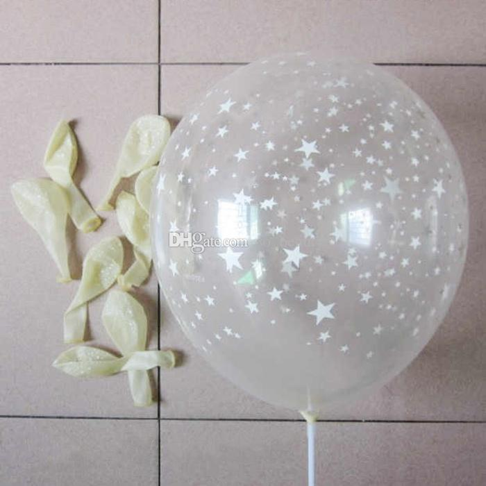 Clear Latex Balloons with Star Transparent Round Pearl Balloon Party Wedding Birthday Anniversary Decor 12 inch new