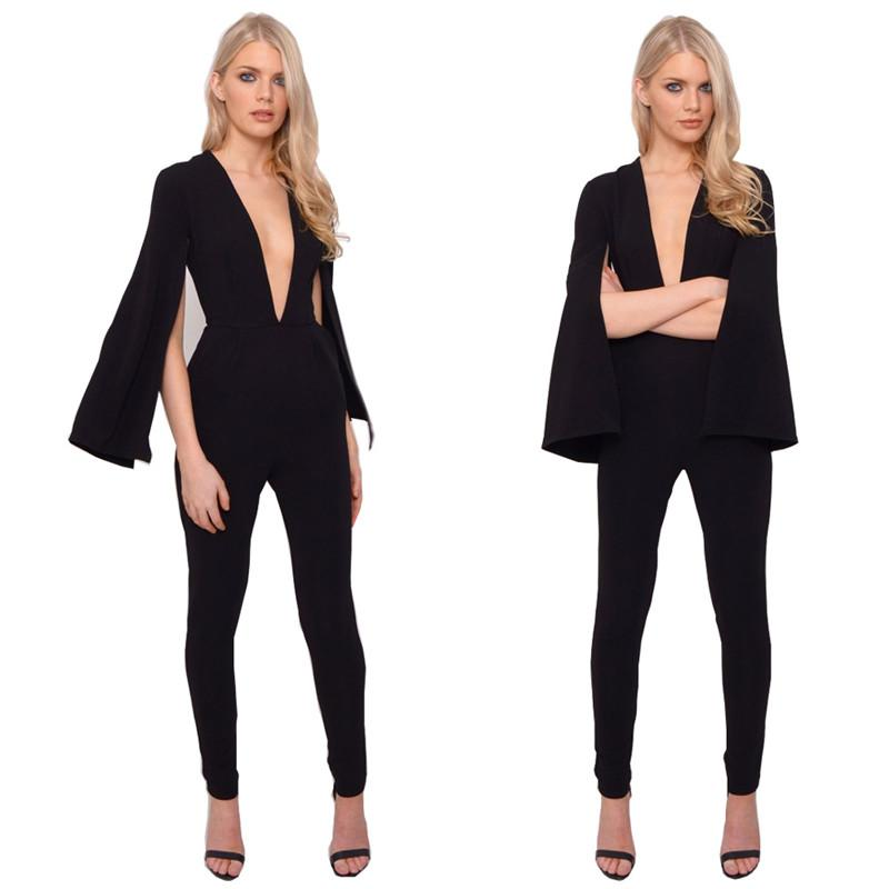 3503c9e79dfa 2019 Wholesale Sexy Women Bodysuit Plunge V Neckline Black Long Open Sleeve  Pants Playsuit Jumpsuit Overalls Enteritos Mujer Club Party Wear From  Xaviere