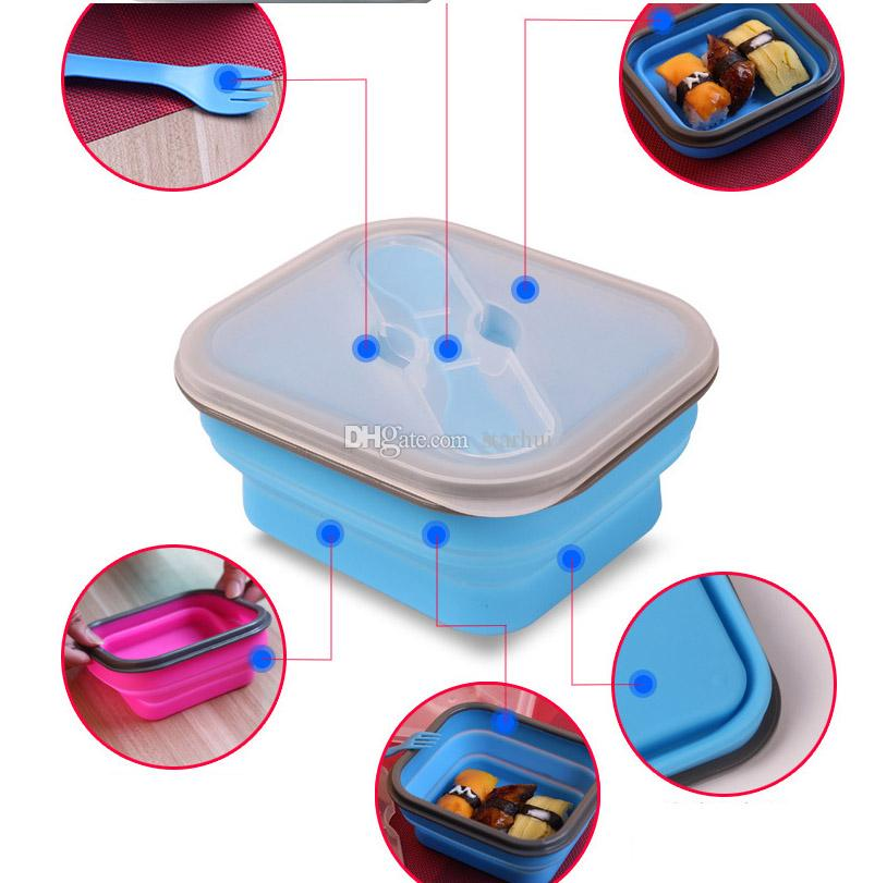 600ML 야외 휴대용 접이식 점심 상자 실리콘 전자 레인지 식탁 점심 상자 그릇 컨테이너 아기 키즈 상자 요리 WX-C66
