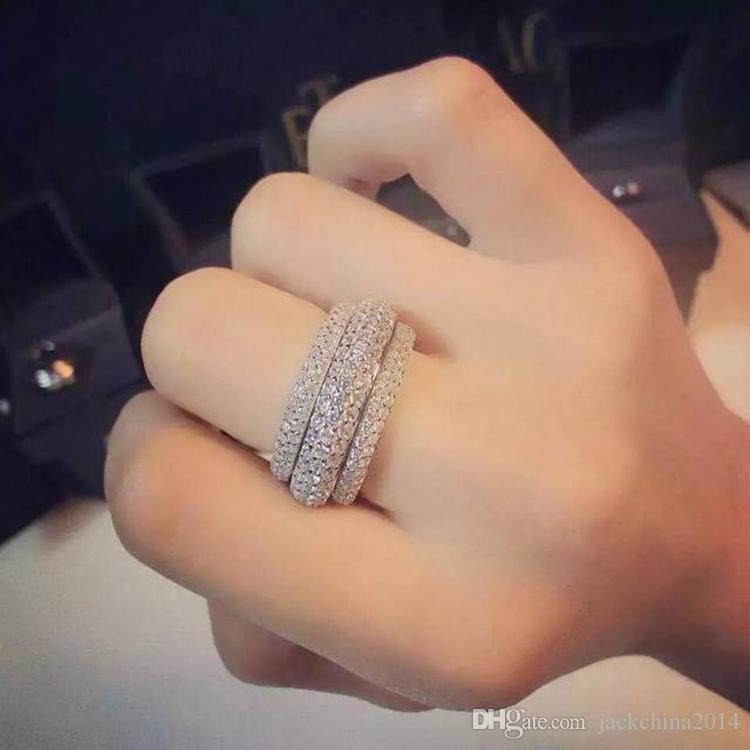 Victoria Wieck Joyas de lujo Completo Diminuto 5A Cubic Zirconia 925 Sterling Silver Blanco Topacio Mujeres Anillo de la venda de compromiso de boda Tamaño del regalo 5-11