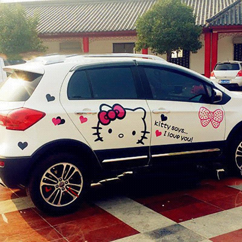 2018 hello kitty car decal cute cartoon car stickers set waterproof reflective for auto whole body exterior accessories car styling from maike1