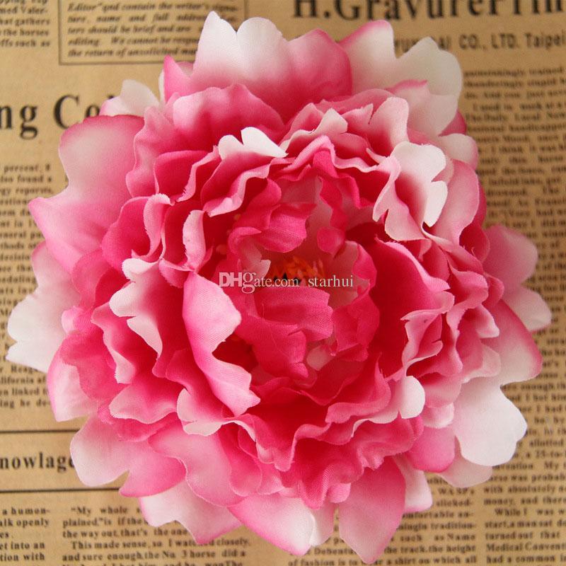 새로운 인공 꽃 실크 모란 꽃 머리 파티 웨딩 장식 용품 시뮬레이션 가짜 꽃 머리 홈 데코레이션 12cm WX-C09