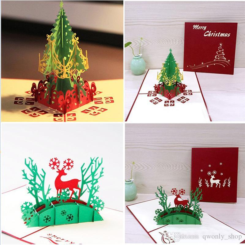 Cartoline Di Auguri Di Natale.Acquista Cartolina D Auguri Di Buon Albero Di Natale Carta Di Pop Up