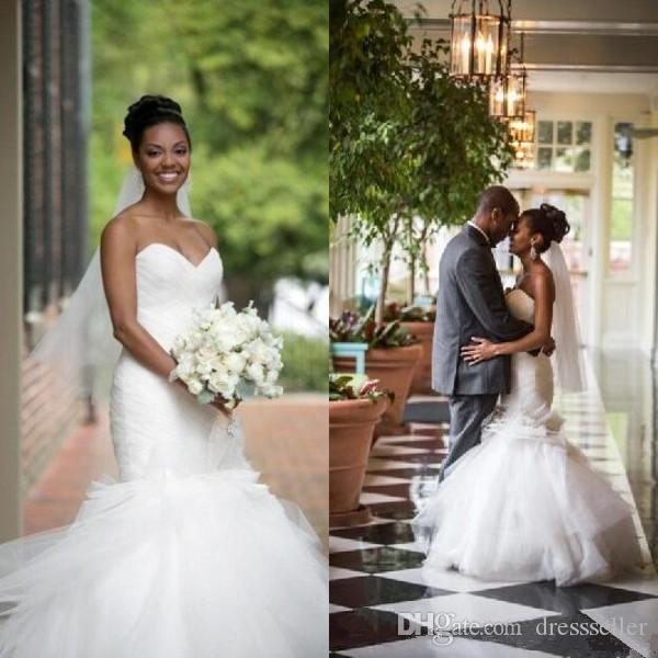Discount Elegant African Wedding Dress 2017 Mermaid Ruched Top Sweetheart Neckline Strapless Trumpet Bridal Gowns With Flowers Floor Length Off The Shoulder