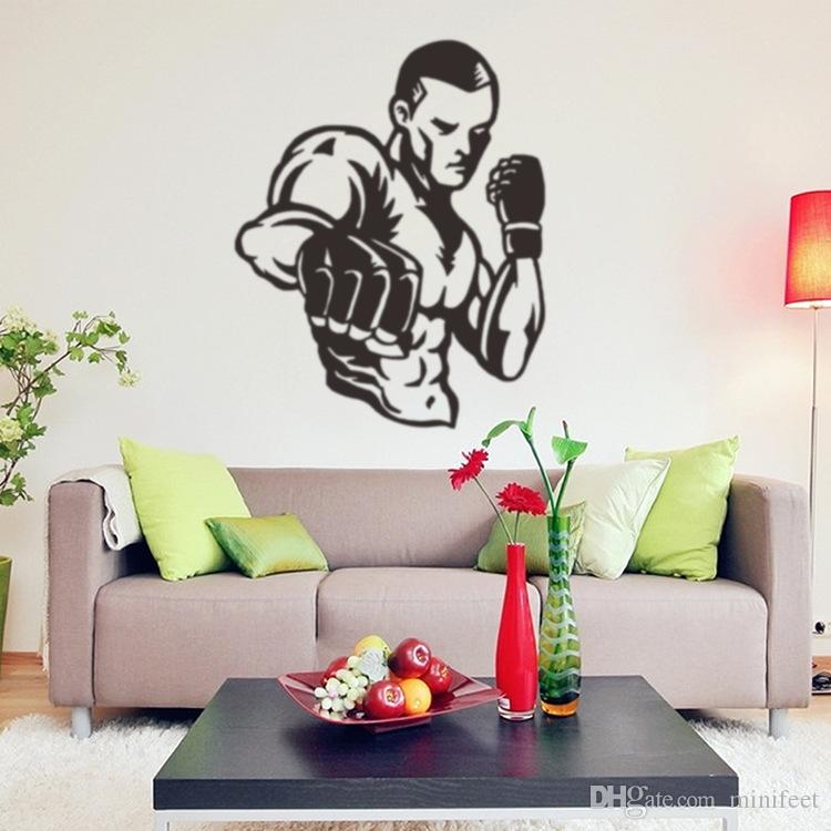 Boxing Man Sports Wall Stickers Sitting Room Boy Bedroom Carved - Custom vinyl wall decals uk how to remove