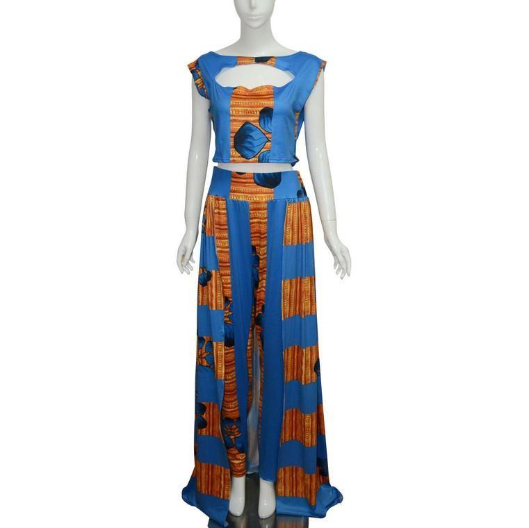 Formelle Deux pièces Robe Ensemble Africain Dashiki Long Sans Manches Gilets Tops Skinny Pantalon Cocktail Soirée Robe Maxi Clubwear