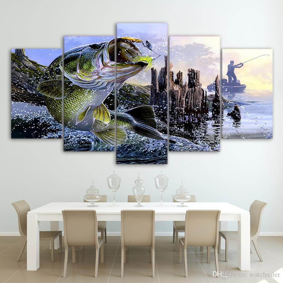Pinturas de lienzo Impreso 5 Unidades gran bass bass fishing Wall Art Canvas Pictures For Living Room Dormitorio Home Decor