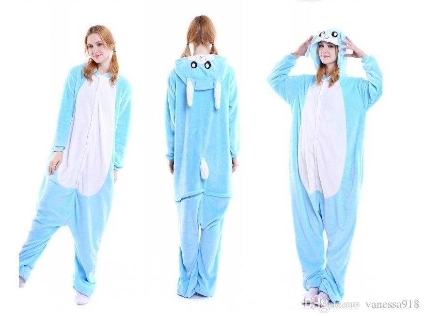 Frauen Pyjama Sets Blau Rosa Kaninchen Onesies Tier Cartoon Cosplay Thema Kostüm Unisex Onesie für Männer Nachtwäsche MX-004