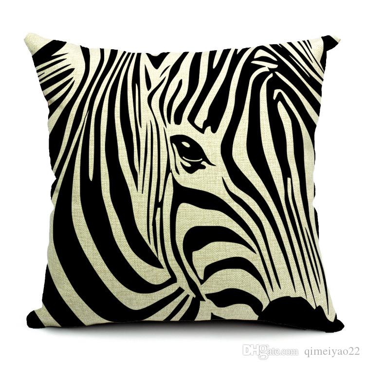 Flamingos Cushion Cover Cotton Linen Decorative Zebra Elk Pillowcase Chair Seat Waist Square 45x45cm Fish Cats Elephant Pillow Cover Home