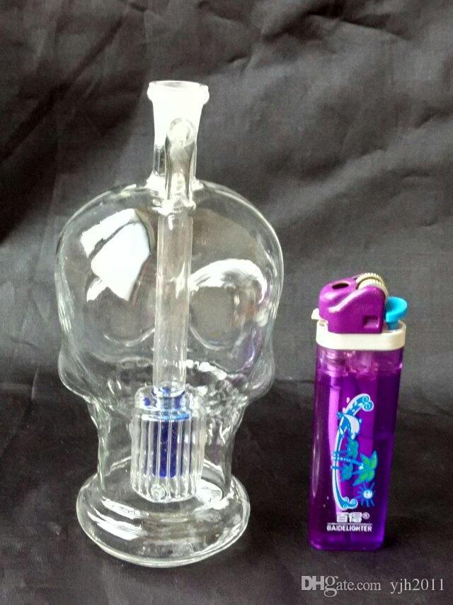 Die neue transparente Schädel Knochen Shisha, Großhandel Glasbongs Ölbrenner Glasrohre Wasserleitungen Glasrohr Ölplattformen Rauchen Kostenloser Versand