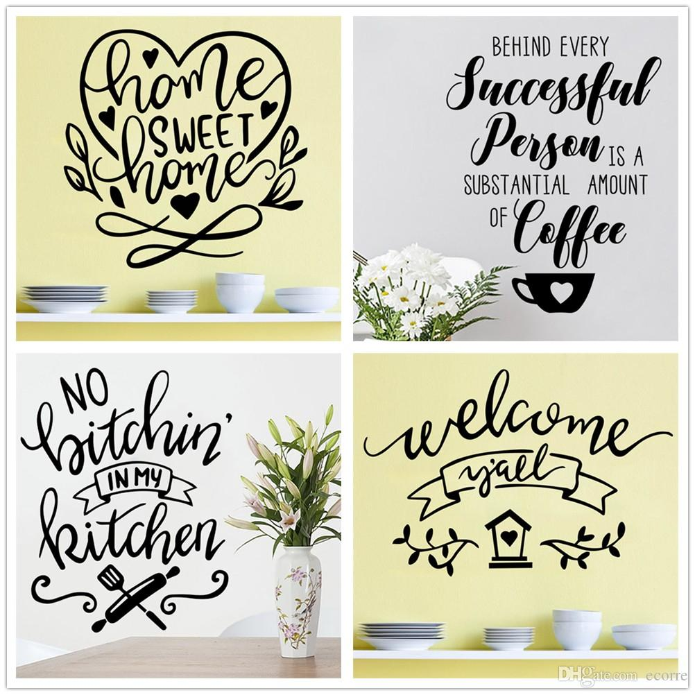 Home Sweet Home Wall Sticker Inspirational Wall Decal Vinyl ...