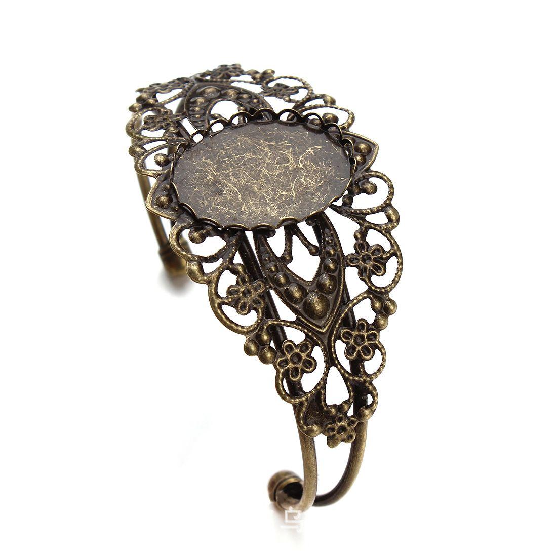 Браслет меднение золото серебро бронза розовое золото поколение 18 мм * 25 мм овальный безель-набор, лоток, регулируемый, медная пластина, Оптовая,