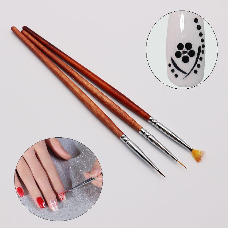 New Nail Brush Set Red Wood Fan Tip Powder Gradient Brush Gel Polish ...