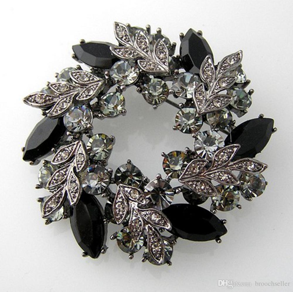 Forme os pinos originais do broche de cristal de Wreath do cristal de rocha da cor do preto do estilo