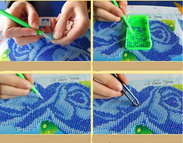 ديي الرسم الماس اللوحة عبر الابره مجموعات الكريستال الديكور الكامل التطريز إطار المنزل