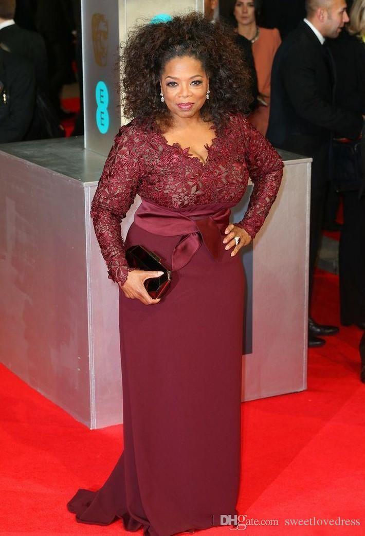 2017 Red Carpet Plus Size Burgundy Sheath V Neck Long ...