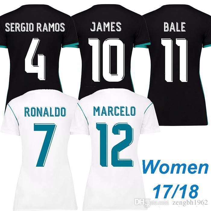 c45108b07 Soccer Women Short Thai 17 18 real madrid Women soccer jersey RAMOS ISCO  lady football shirt 12 Womens Marcelo Real Madrid CF ...